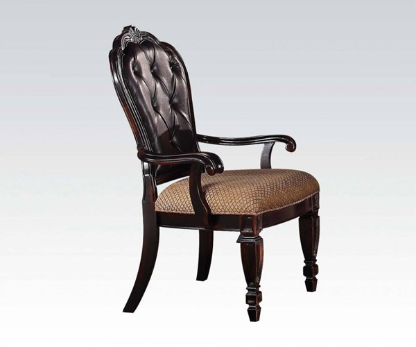2 Le Havre Dark Brown Bonded Leather Fabric Arm Chairs ACM-60404