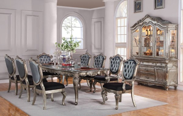 Chantelle Platinum Silver Gray Fabric Wood 9pc Dining Room Set ACM-60547-44-DS1