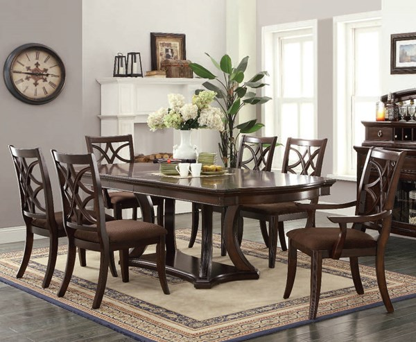 Keenan Traditional Dark Walnut Brown Wood Fabric 7pc Dining Room Set ACM-60560-DR-S