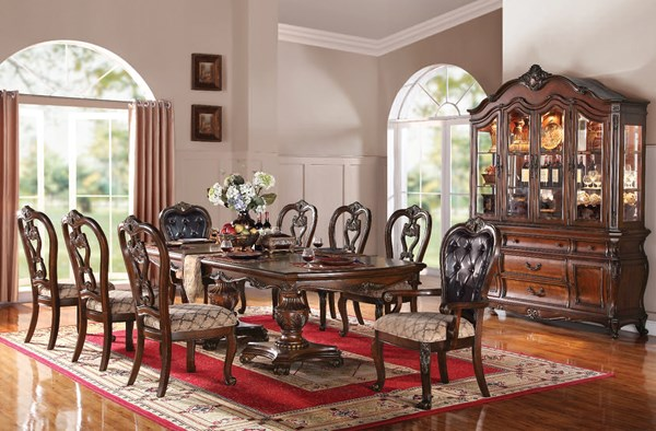 Dorothea Traditional Cherry Brown Wood Bonded Leather Dining Room Set ACM-60590-95-B1