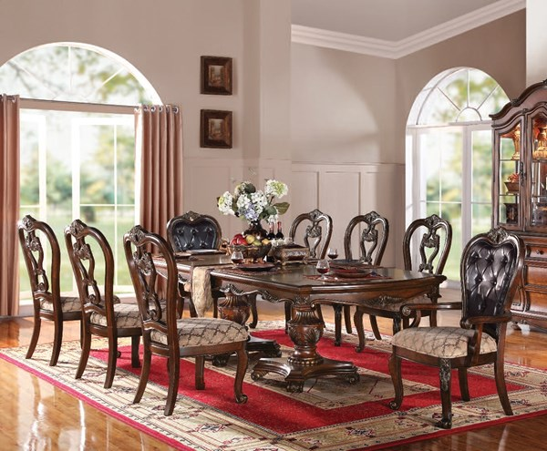 Dorothea Cherry Brown Wood Bonded Leather 9pc Dining Room Set ACM-60590-95-S1