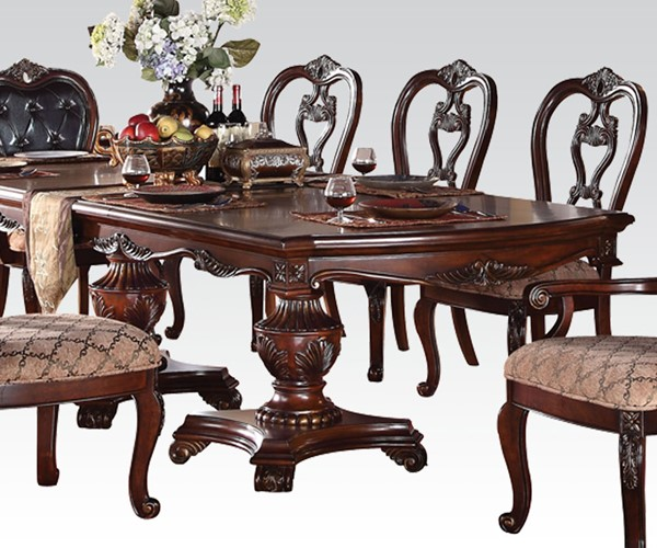 Dorothea Classic Cherry Wood Dining Table w/Double Pedestal ACM-60590