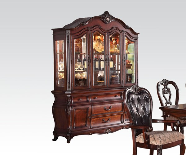 Dorothea Classic Cherry Wood Glass Hutch & Buffet ACM-60595