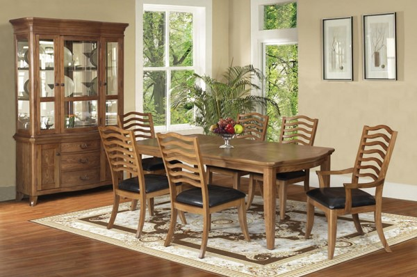 Selwyn Formal Maple Brown Wood PU 7pc Dining Room Set ACM-60715-DR-S