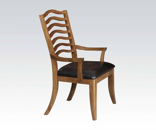 2 Selwyn Formal Maple Brown Wood PU Arm Chairs ACM-60718