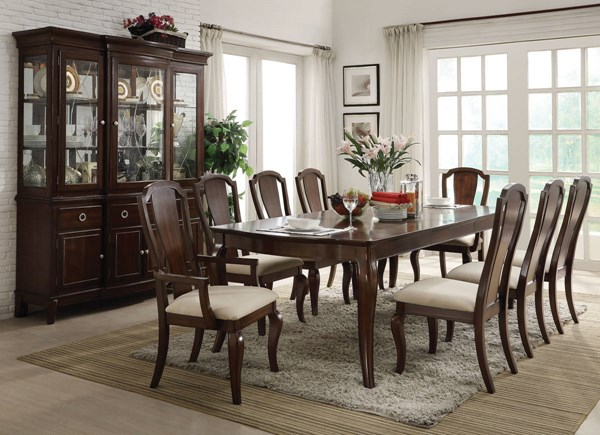 Florence Formal Cherry Wood Fabric Dining Room Set ACM-6073-DR