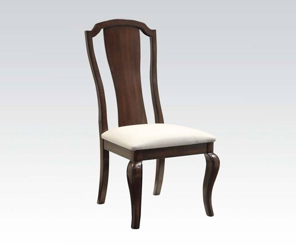 2 Florence Formal Cherry Wood Fabric Side Chairs ACM-60732