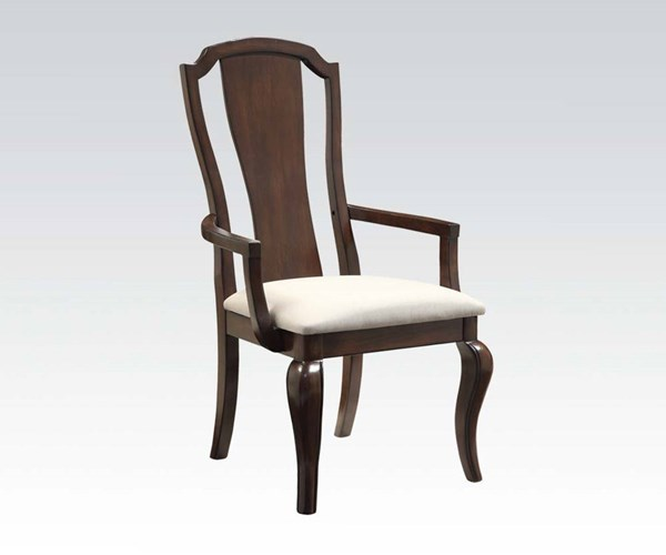 2 Florence Formal Cherry Wood Fabric Arm Chairs ACM-60733