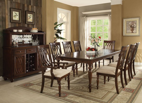 Farrel Formal Sand Walnut Fabric Wood Dining Room Set ACM-6074-DR