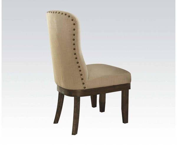 2 Landon Formal Beige Brown Fabric Wood Side Chairs ACM-60742