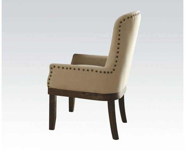 Landon Formal Beige Brown Fabric Wood Arm Chair ACM-60743