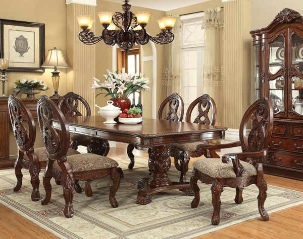 Rovledo Traditional Cherry Wood 7pc Dining Room Set ACM-60800-DT-S1