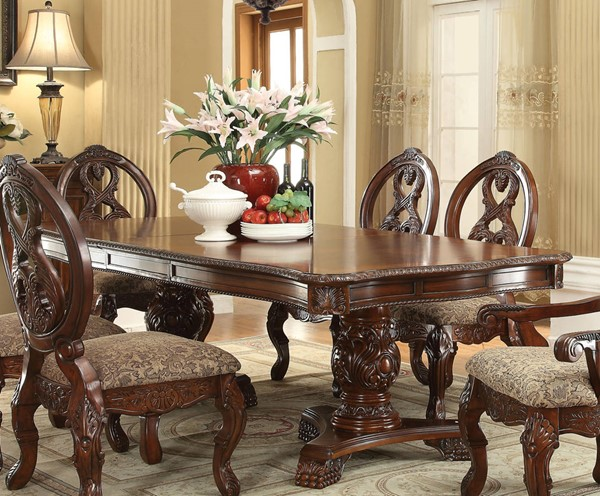 Acme Furniture Rovledo Cherry Double Pedestal Dining Table ACM-60800