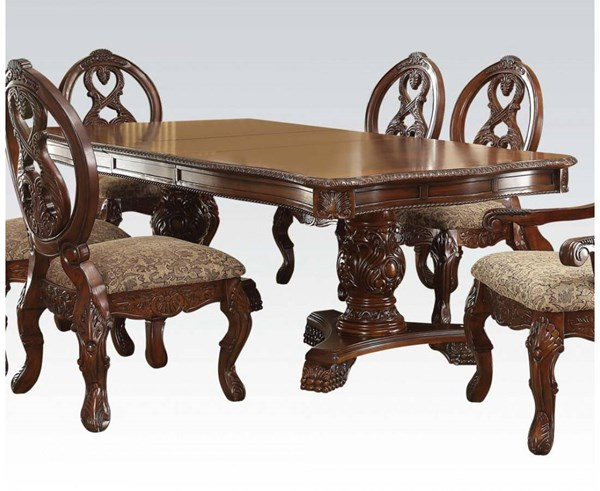 Rovledo Traditional Cherry Wood Double Pedestal Dining Table ACM-60800