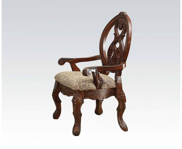 2 Rovledo Traditional Cherry Fabric Wood Arm Chairs ACM-60803