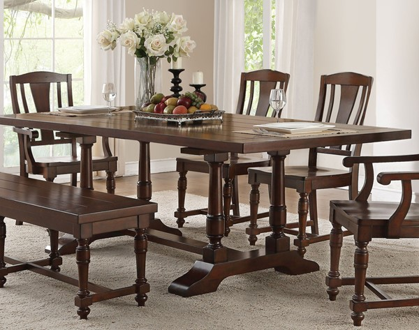 Acme Furniture Tanner Cherry Rectangular Trestle Dining Table ACM-60830