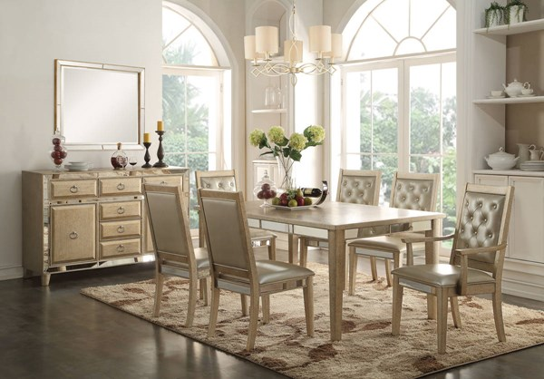 Voeville Contemporary Matte Gold White Wood Leaf 7pc Dining Room Set ACM-61000-DR-S2