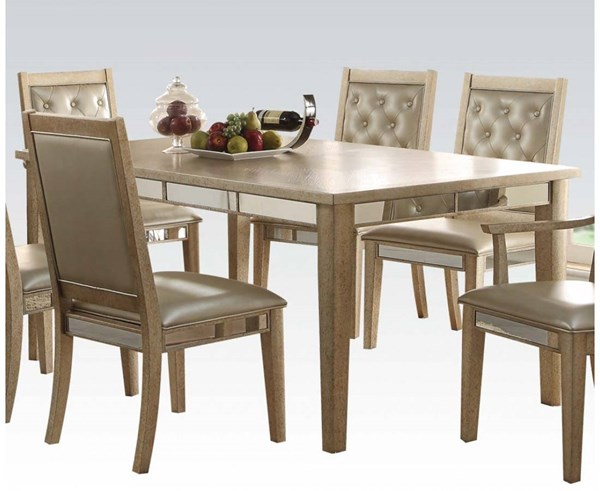 Voeville Contemporary Antique White Wood Dining Table ACM-61000