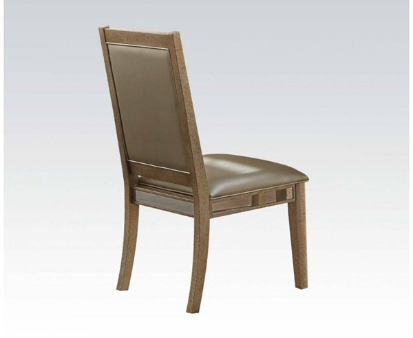 2 Voeville Contemporary Matte Gold Antique White PU Wood Side Chairs ACM-61002