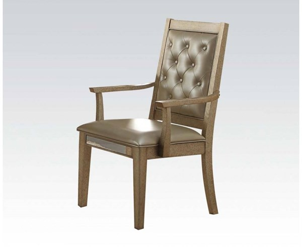 2 Voeville Contemporary Matte Gold Antique White PU Wood Arm Chairs ACM-61003