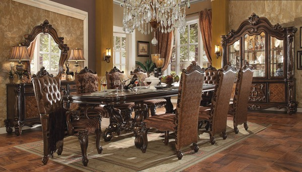 Versailles Traditional Cherry Oak Wood 9pc Dining Room Set ACM-61100-DR-S1