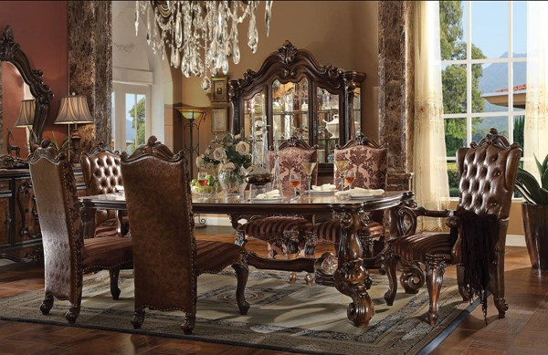 Versailles Traditional Cherry Oak Wood Oversized 7pc Dining Room Set ACM-61100-DR-S3