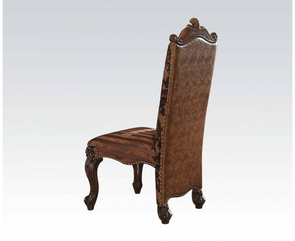 2 Versailles Traditional Cherry Bone White PU Fabric Wood Side Chairs ACM-61102-DR-CH-VAR