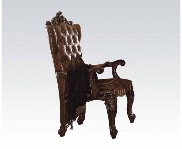 Versailles Traditional Cherry Oak PU Fabric Wood Arm Chairs ACM-61103-CH-VAR
