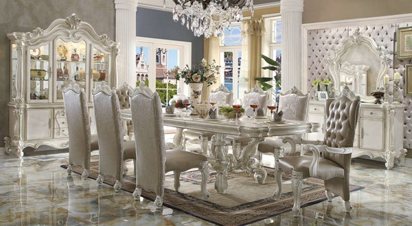 Versailles Traditional Gray Bone White Wood 9pc Dining Room Set ACM-61130-DR-S1
