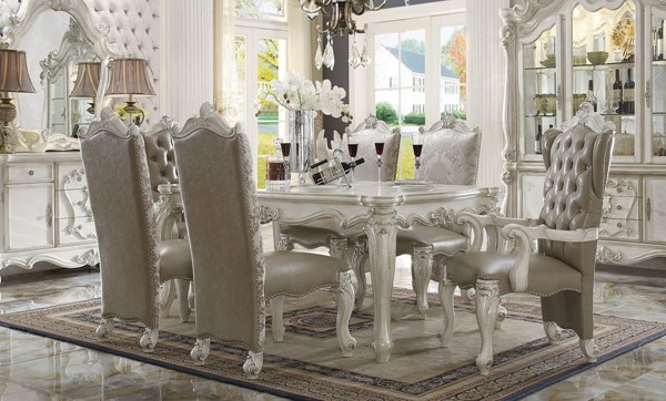 Versailles Traditional Gray Bone White Wood 7pc Dining Room Set ACM-61130-DR-S2