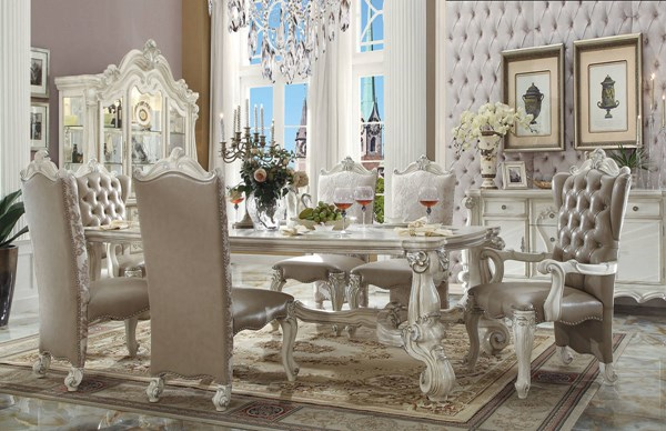 Versailles Traditional Bone White Gray Wood 7pc Dining Room Set ACM-61130-DR-S3