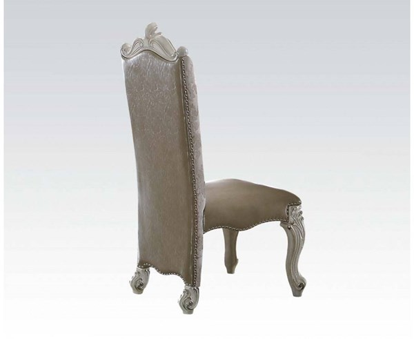 2 Versailles Traditional Gray Bone White PU Fabric Wood Side Chairs ACM-61132