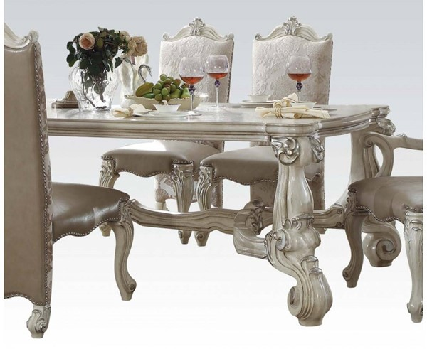 Versailles Traditional Bone White Wood Dining Table ACM-61145