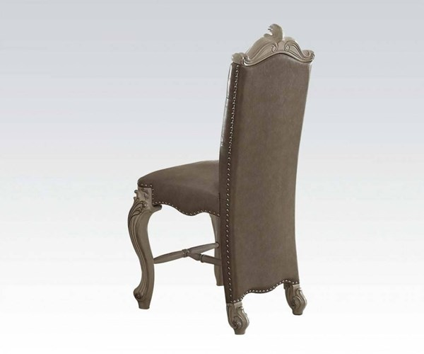 2 Versailles Vintage Gray Fabric Wood MDF Counter Height Chairs ACM-61152