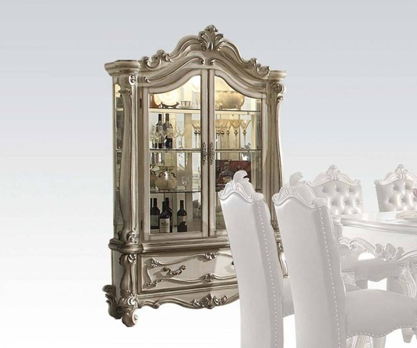Versailles Traditional White Charry Oak Wood MDF Curio Cabinets ACM-611-CC-VAR