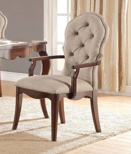 2 Mathias Traditional Beige Fabric Walnut Poplar Wood Arm Chairs ACM-61983A