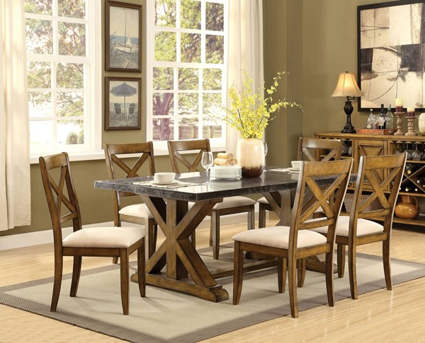 Franklin Contemporary Oak Limestone Marble Fabric Dining Room Set ACM-6206-DR