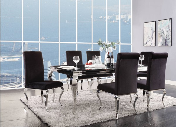 Acme Furniture Fabiola Black 7pc Dining Room Set ACM-620-DR-S1