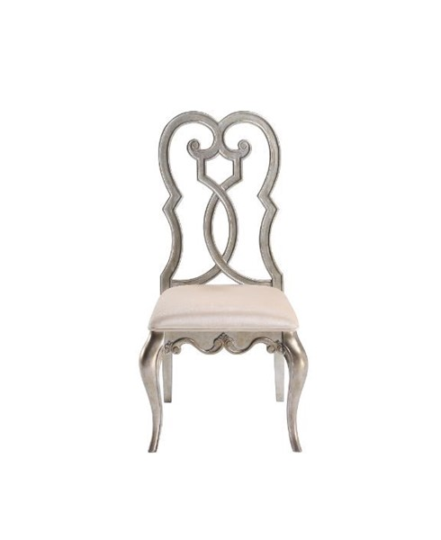 2 Acme Furniture Esteban Ivory Antique Champagne Side Chairs ACM-62202