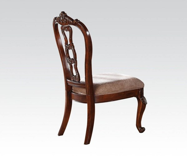 2 Nathaneal Traditional Tobacco Wood Fabric Side Chairs ACM-62312