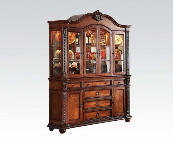 Nathaneal Traditional Tobacco Wood Hutch & Buffet ACM-62314