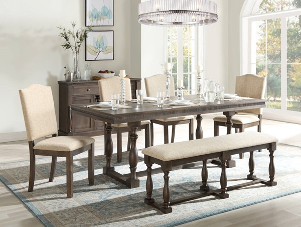 Acme Furniture Leilani Tan Walnut 6pc Dining Room Set ACM-6232-DR-S1