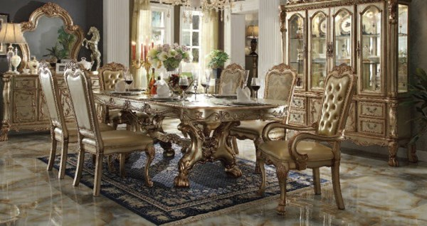 Dresden Classic Gold Patina Wood 7pc Dining Room Set ACM-63150-DR-S