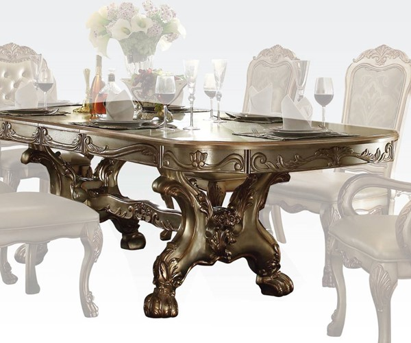 Acme Furniture Dresden Gold Patina Bone Trestle Dining Table ACM-63150