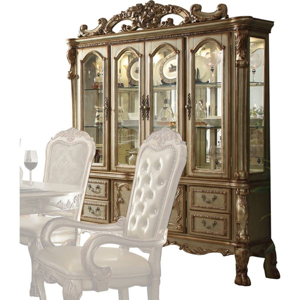 Acme Furniture Dresden Gold Patina Hutch and Buffet ACM-63155