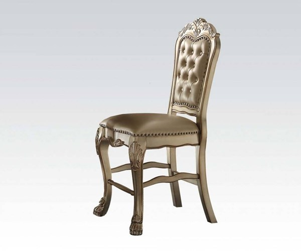 2 Dresden Classic Gold Patina Bone MDF Wood Counter Height Chairs ACM-63162