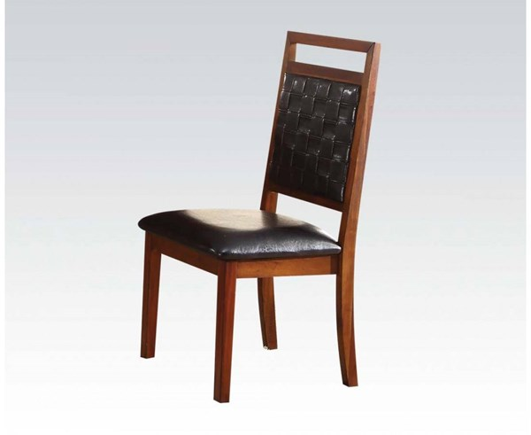 2 Jiphia Transitional Espresso Oak PU Wood Side Chairs ACM-63202