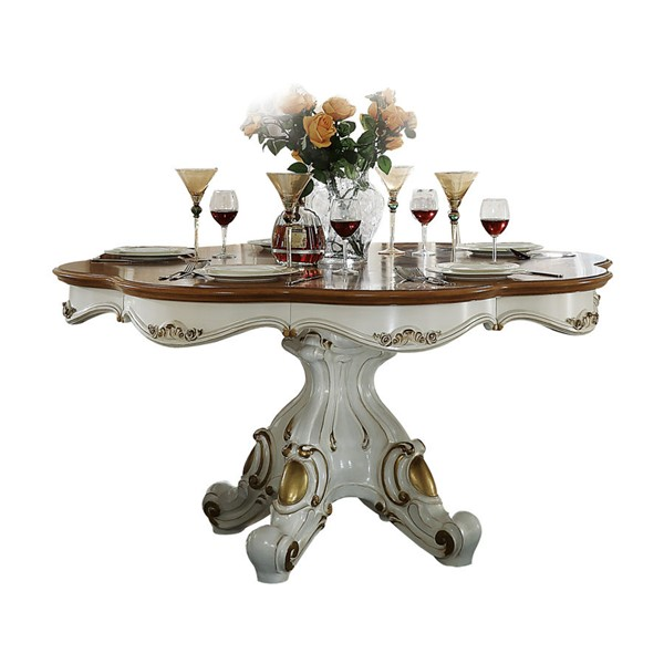 Acme Furniture Picardy Antique Pearl 62 Inch Round Dining Table ACM-63470