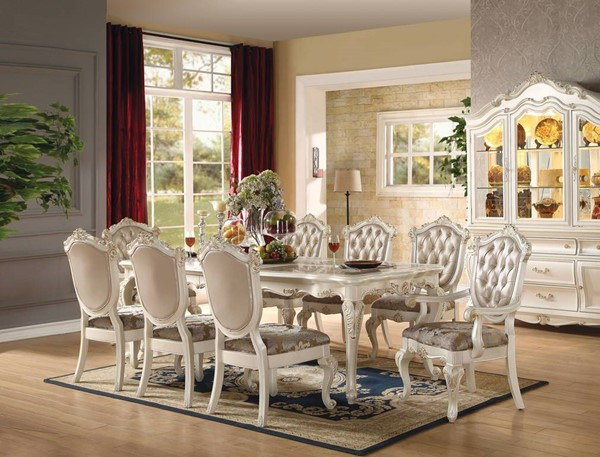 Chantelle Formal Pearl White Wood Glass Tufted 9pc Dining Room Set ACM-6354-DR-S1