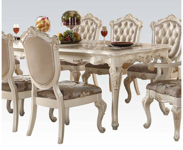 Chantelle Formal Pearl White Marble Wood Dining Table ACM-63540